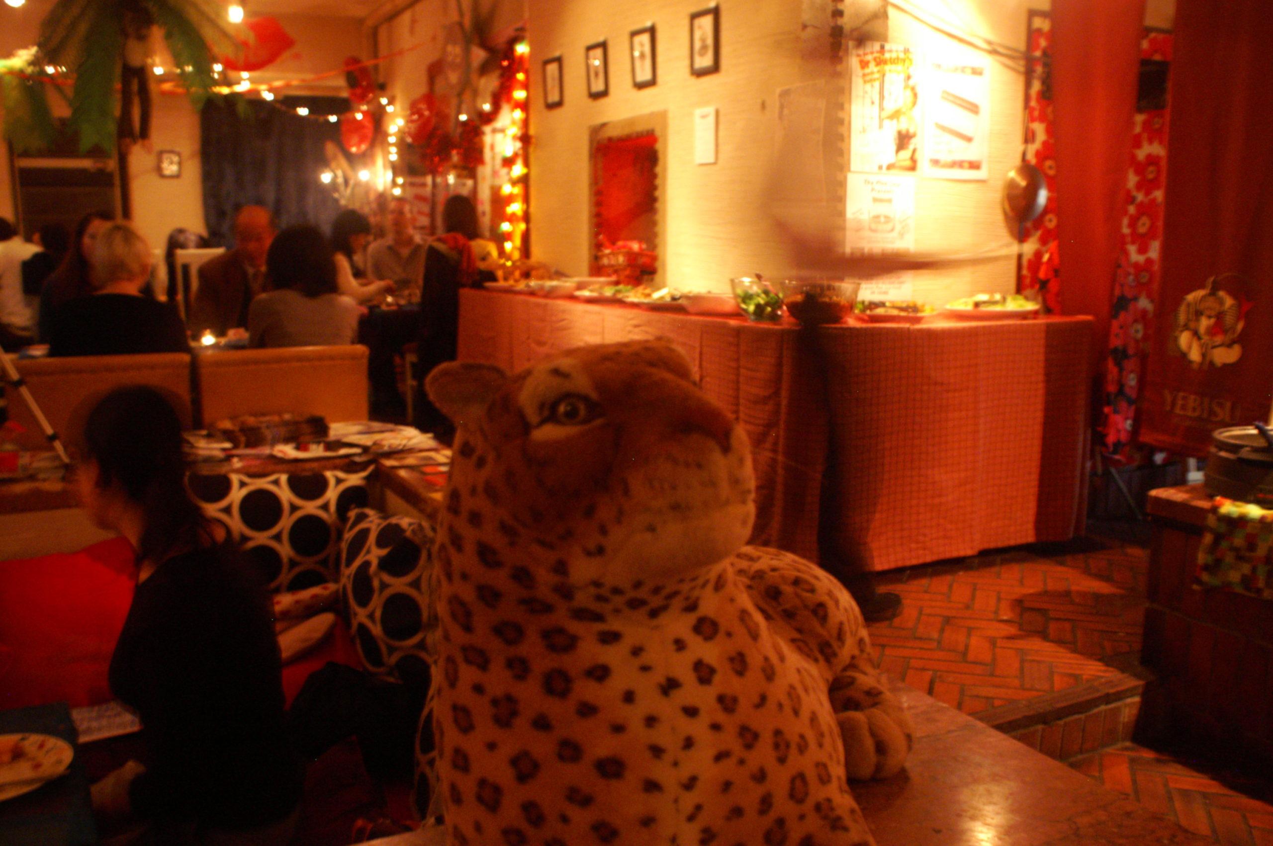 Plush leopard at the Vegan meet-up Tokyo