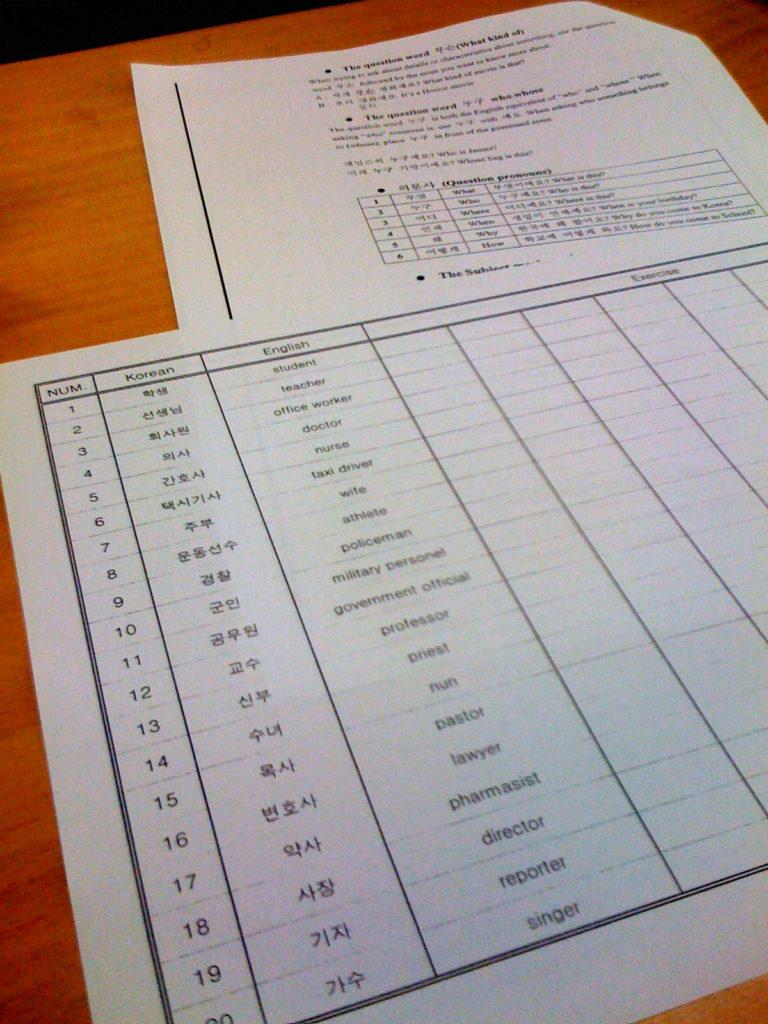 Vocabulary list, lots of common Korean words