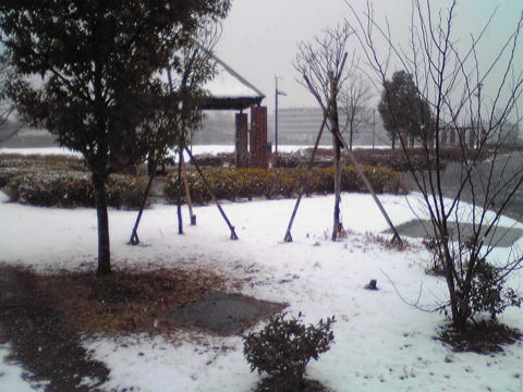 Light snow covering a park in Nakano