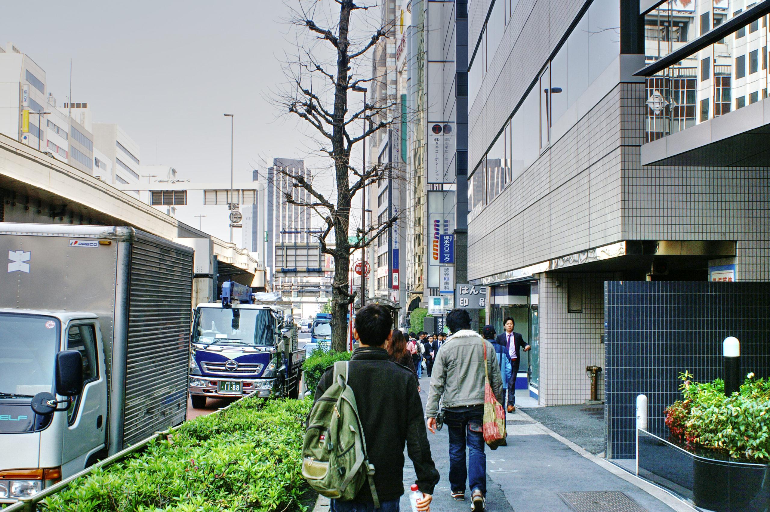 Returning from school in Shibuya