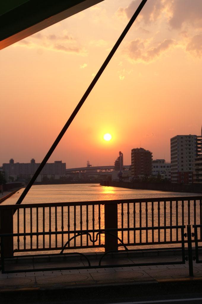Sunset in Adachi-ku