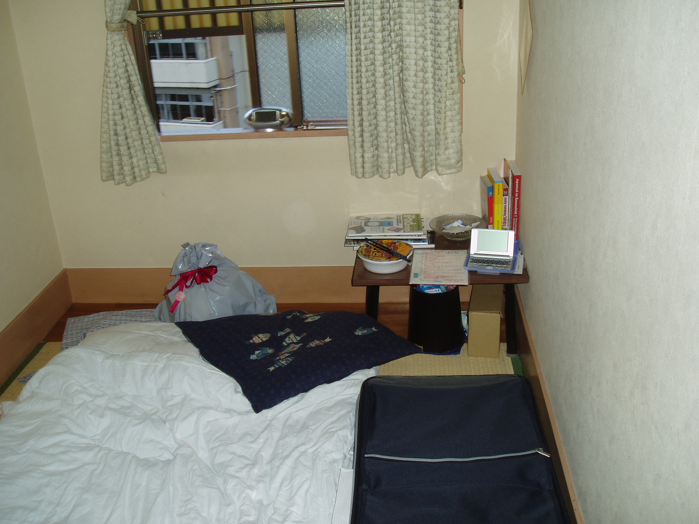 My hotel room with stuff I bought