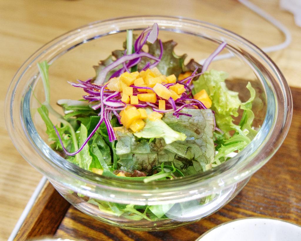 Small salad at the raw food restaurant