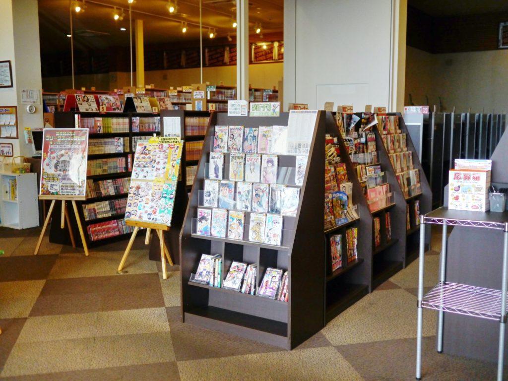 Many shelves full of manga books